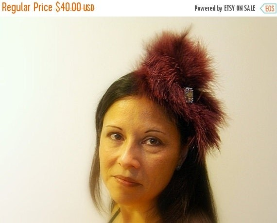 Feather Headband, Avant Garde Maroon Luxurious Fluffy Feather Headpiece, Rhinestone Accents, Party Holiday Accessory