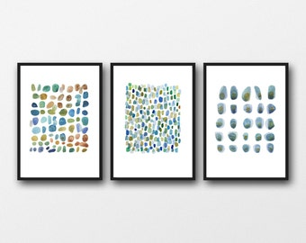 Abstract watercolor paintings - set of 3 watercolor prints - rain, green blue pebbles watercolor nature