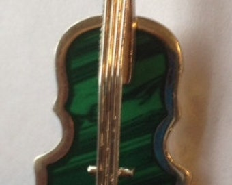 Sale Vintage 925 Silver Violin Brooch and maybe Malachite