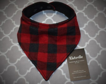 Buffalo Plaid Bandana Drool Bib