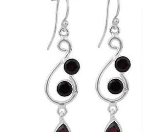 Garnet Earrings, Long Earrings, Dangle Earrings, Red Earrings, Natural Garnet, Birthstone Earrings, Sterling Silver, Garnet Jewelry