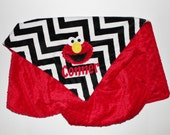 PERSONALIZAED DOUBLE MINKY Monster Blanket or Lovey - Black and White Chevron with Red