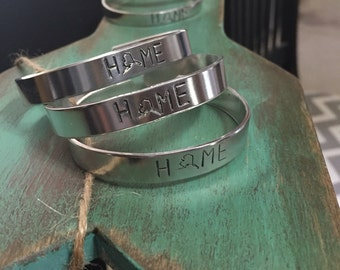 "Hand Stamped Metal Cuff Bracelet      ""Alaska"""