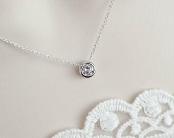 Cubic Zirconia Solitaire Necklace, Sterling Silver Necklace, Round Cubic Zirconia Slider, Bridal Necklace, Bridesmaid Necklace