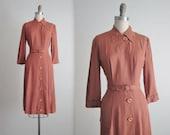 40's Shirtwaist Dress // Vintage 1940's Mocha Gabardine Shirtwaist Dress M