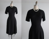 60's Cocktail Dress // Vintage 1960's Black Rayon Fitted Cocktail Party Dress M