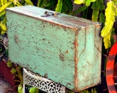 Antique Rustic Wooden Carpenters Toolbox: Large Industrial Green - Blue Trunk or Utility Chest with Fold-down Sides - Tool, Hardware Storage