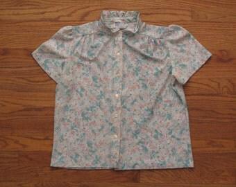 womens vintage barkcloth floral shirt