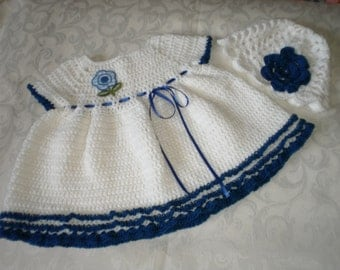 Blue and White Dress and Hat Set  for 12 to 18 Months Baby