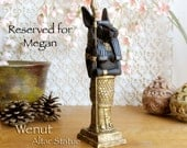 Wenut - The Swift One - Anthropomorphic Hare Altar Statue - Ancient Egyptian Symbol of Renewal - Handcrafted with Gold & Black Oxide Finish