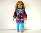 18 inch Doll off the shoulder Turquoise long shirt leggings red burst outfit tie dye