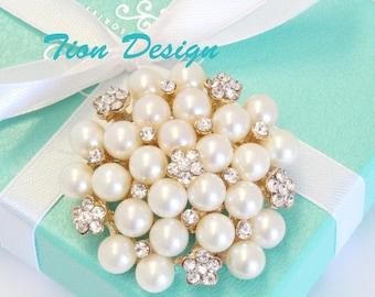 Mother day Sale Rose Gold Pearl Crystal brooch, Wedding Brooch, Rhinestone Brooch | Free US shipping