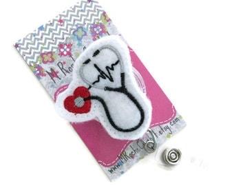 Nurse badge holder, stethoscope reel, retractable badge reel,  nurse name badge,  nurse badge holder, felt badge reel, office gift, name tag