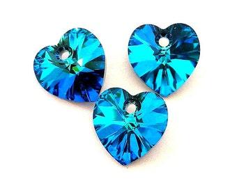 3 Bermuda Blue 10mm Swarovski crystal heart pendants, 10mm blue crystal pendants, Valentine's day crystal hearts, 10mm teal hearts