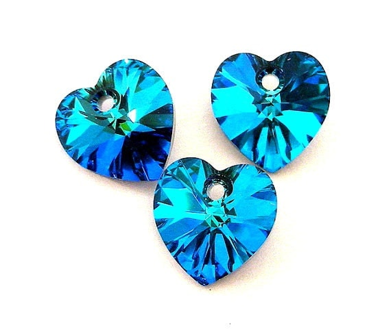 3 Bermuda Blue 10mm Swarovski crystal heart pendants, 10mm blue crystal pendants, Valentine's day crystal hearts, 10mm teal hearts