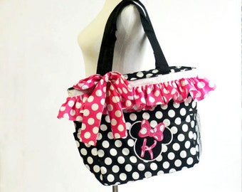 Large Minnie Mouse Tote...Your Choice Pink or Red...Four Loves
