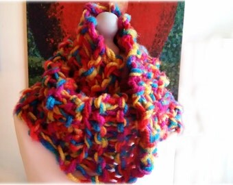 Rainbow Outlander Style Cowl- Super Warm Thick and Soft Infinity Scarf- With a Mobius Twist.