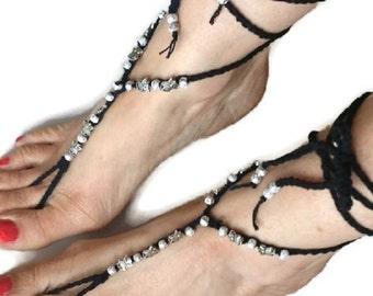 Black Silver Barefoot Sandals Owl Charms Hippy Boho Beach Wedding Yoga Gypsy Crochet Stardust