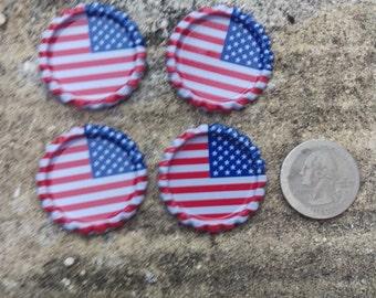 "1"" American Flag Bottle Caps - Set of 4"