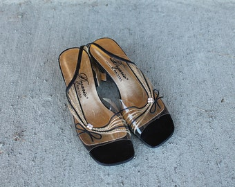 Dezario 1980s Lucite Heels with Rhine Stone Bows Size 6