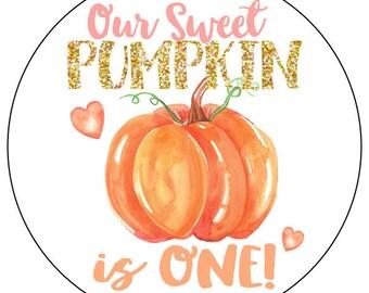 pumpkin first birthday stickers, gold pumpkin birthday stickers, 1st birthday watercolor pumpkin sticker labels, first birthday party labels