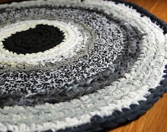 Round Rug Denim Black and White Round Rag Rug Nursery Rug Mandala Rug Recycled Textiles Memory Rug