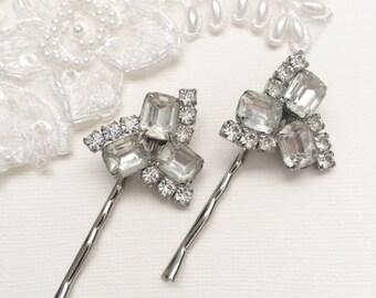 Rhinestone Hair Pins, Wedding Hair Pins, Bridal Bobby Pins, Wedding Hair, Bridal Accessories, Vintage Bride