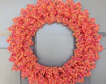 Hot Pink Blend French Beaded Decorative Wreath (Small)