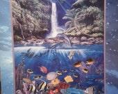 Vintage Christian Riese Lassen Eternal Rainbow Sea Vintage Gold Foil ink Poster Print Above & Below Two Worlds
