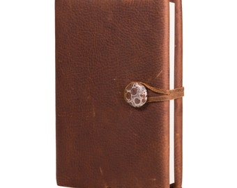 "Kodiak Brown Leather Journal with Oribicular Jasper 4"" x 6"" (JS-32)"