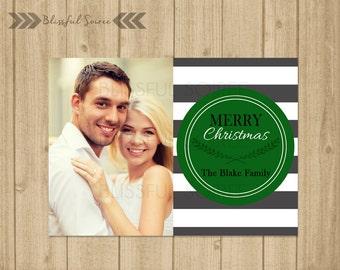 Custom Photo Christmas Card | Christmas Card | Holiday Card | DIY Printable | Circle and Stripes Christmas