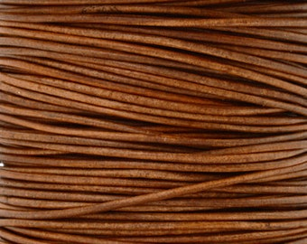 Leather-1mm Round Cord-Soft-Natural Light Brown-10 Meter Spool