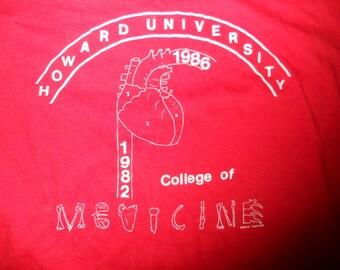 Vintage 1980s Howard University College of Medicine  t-shirt 1986 Large