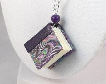 Purple Miniature Book Necklace Mini Book Jewelry Mini Book Pendant Necklace 18 Inch Silver Chain