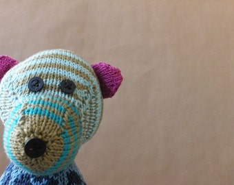 Teddy bear, hand made toy, knitted toy, knitted teddy bear