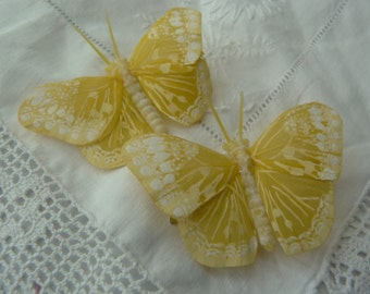 Yellow and white feather butterfly hairclips x2