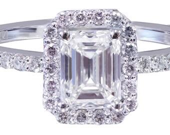 14k white gold emerald cut diamond engagement ring halo 1.50ct G-VS2 EGL US Cert