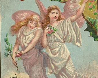 Vintage Christmas Postcard Two Angels With Outstretched Wings Beautifully Embossed and Coloured Card A Joyous Christmas Tide