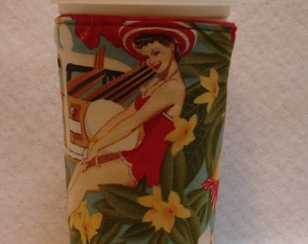 ARTI Coffee Cup Sleeve,  for Starbucks to go HAWAIIAN  REVERSIBLE with red pokka dot