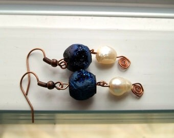 Iridescent Blue and Pearl Earrings