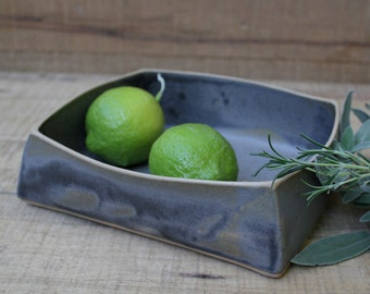 grey squarish serving dish, grey square, grey serving dish, handmade serving dish,wabi sabi