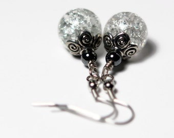 ON SALE - Crackle Earrings - Crackle Glass Hematite Beads - Bridal Jewelry - White Bead Earrings - Bridesmaid Gifts