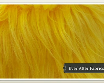 Long Pile Yellow Faux Fur Craft Size