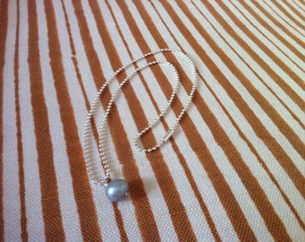 Sterling Silver Ball Chain with Pearl
