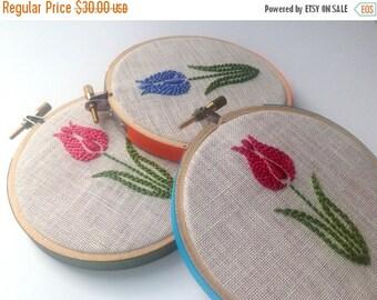 "Christmas in July Sale Tulip hand embroidered hoop art, rose pink, cornflower blue, dark magenta, 4"" hoop, nature lover's gift, housewarming"