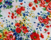 One Yard Cotton Fabric Floral Design Oranges and Blue and Yellow Spring Cranston Prints VIP Print