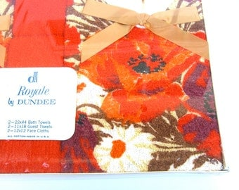 Vintage Dundee Royale Towel Bath Set, Retro Oranges Bathroom, NIP New Old Stock Unused Mint in Package, Cotton Face Hand Guest, Fall Colors