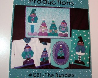 "Whistlepig Creek Productions ""The Bundles"" Quilting - Wool Felt - Applique - Snowman Family - Penny Rug - Wallhanging - Rug Hooking"