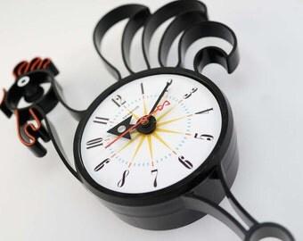 Vintage Spartus Rooster Wall Clock Starburst Sunburst Atomic Eames Era Mid Century Modern 1950's 60's
