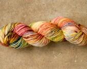 hand dyed yarn, fingering superwash, 100% merino - Mom's Spaghetti - ooak
